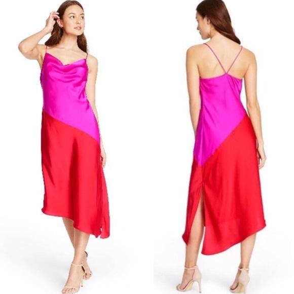 NWT CUSHNIE Magenta Pink/Red Two-Tone Slip Dress